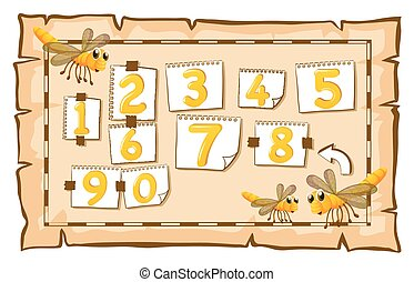 Counting numbers on paper illustration