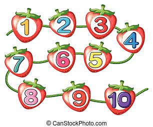Counting numbers on strawberries illustration