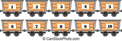 Counting numbers on wooden wagons illustration