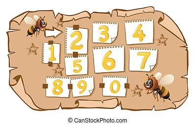 Counting numbers with bees illustration