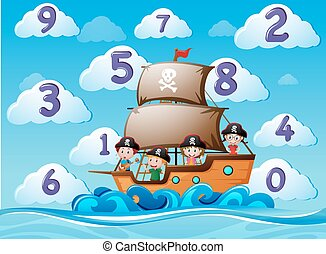 Counting numbers with children on ship