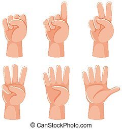 Counting numbers with hand gesture illustration