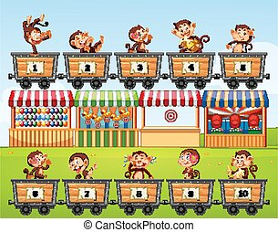 Counting numbers with monkeys in the carts