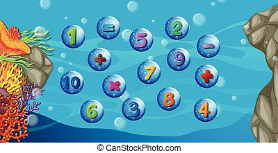Counting numbers with underwater background illustration