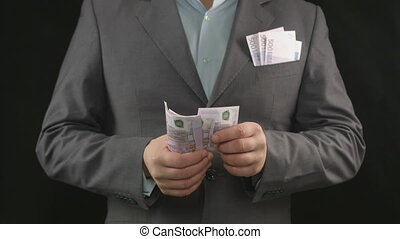 """""""Counting paper money. Lottery win, successful business, fortune"""""""