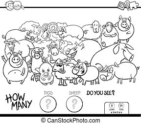 counting pigd and sheep game color book - Black and White...