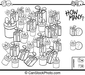 Black and White Illustration of Educational Counting Task for Children with Christmas or Birthday Presents Coloring Book