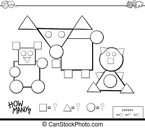 counting shapes educational game for kids - Black and White ...
