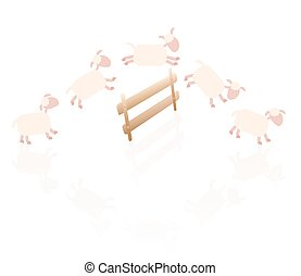 Counting sheep - comic illustration of sheep jumping over a wooden fence.