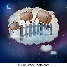 Counting sheep concept as a symbol of insomnia and lack of sleep due to challenges in falling asleep as a group of farm animals jumping over a fence in a dream bubble as an icon of bedtime for sleepy children and tired adults.