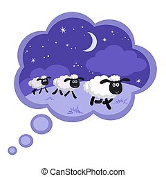 Counting sheep in a dream bubble with frame
