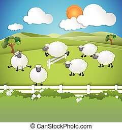counting sheep on field