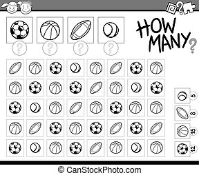 counting task cartoon illustration - Black and White Cartoon...