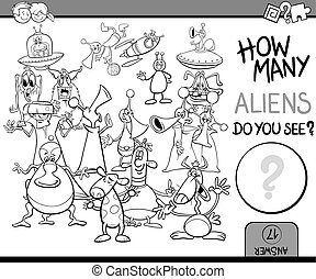 counting task coloring page - Black and White Cartoon...