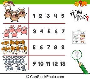 counting task with farm animals cartoon illustration
