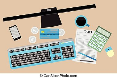 Counting taxes. Accountant workplace
