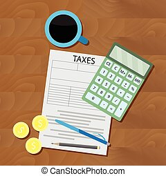 Counting taxes flat vector. Money counter, accounting illustration