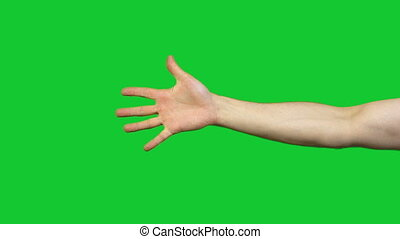 Counting to five on green background - Footage of male hands...
