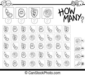 counting vegetables coloring page - Black and White Cartoon...