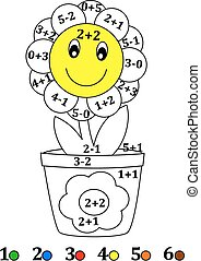 Counting with colors for children - - Calculate the examples...
