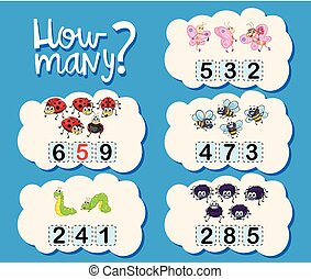 Counting worksheet with numbers and pictures illustration