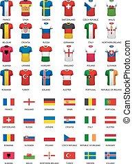 countries., σημαίες , αγελάδα υερσέης , ποδόσφαιρο , συλλογή , vector., διάφορος