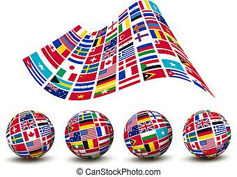 countries., τέσσερα , globes., σημαίες , vector., κόσμοs