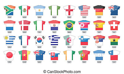 countries flags icons in jersey design, for international games, world cup 2010