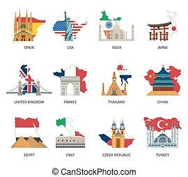 Countries Flags Landmarks Flat Icons Set