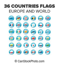 Countries flags set