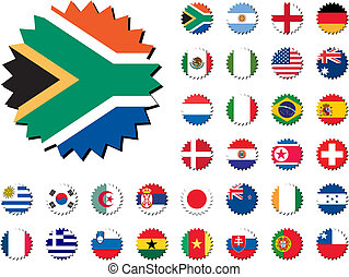 countries badges in sticker form, 32 countries. For world cup 2010.
