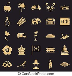 Countries in Asia icons set, simple style