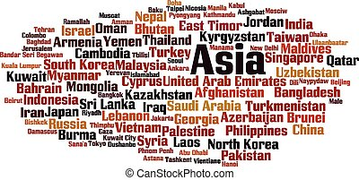 Asia map in typography word cloud concept, names of countries.