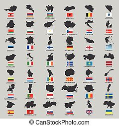 Europe country territories with flag