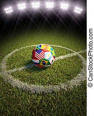 Countries of soccer - 3d rendering of a soccer ball on a...