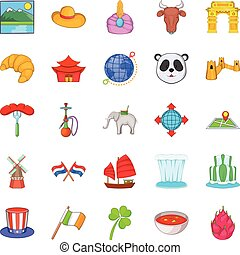 Countries of the world icons set, cartoon style