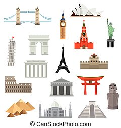 architecture, monument or landmark icon. - countries of the ...
