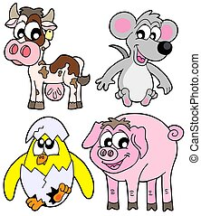 Country animals collection - isolated illustration.