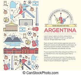 Country Argentina travel vacation guide of goods, places and features. Set of architecture, fashion, people, items or nature background concept. Infographic template design. On thin lines style