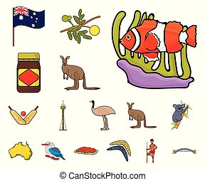 Country Australia cartoon icons in set collection for design. Travel and attractions vector symbol stock web illustration.