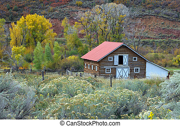 Country barn in autumn