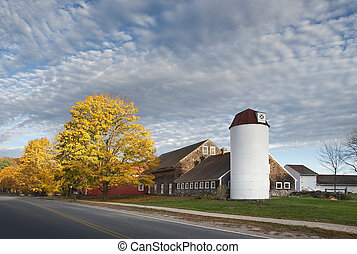 Country barn - Barn shot during the fall season with...