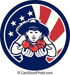 country-boy-hat-hand-tomato_CIRC_USA-FLAG-ICON - Icon retro...