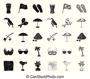 Country Brazil black. mono icons in set collection for design. Travel and attractions Brazil vector symbol stock web illustration.