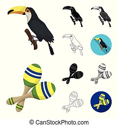 Country Brazil cartoon, black, flat, monochrome, outline icons in set collection for design. Travel and attractions Brazil vector symbol stock web illustration.