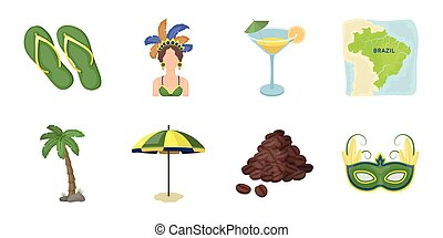 Country Brazil icons in set collection for design. Travel and attractions vector symbol stock web illustration.