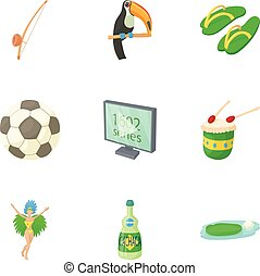 Country Brazil icons set, cartoon style