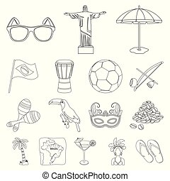 Country Brazil outline icons in set collection for design. Travel and attractions Brazil vector symbol stock web illustration.