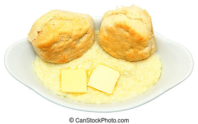 Country Breakfast Biscuits and Grits