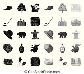 Country Canada black. mono icons in set collection for design. Canada and landmark vector symbol stock web illustration.